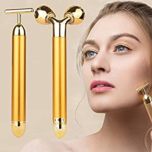 2 In 1 Gesichtsmassager Golden Puls Beauty Bar 24k3d Roller Und T Form Hochfrequenz Vibration Elektrisches Schnheits Instrument Massagegert Fr Gesichtaugennasehautkopf Bein Und Arm