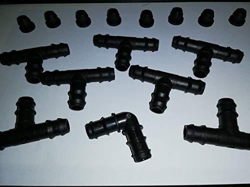 kit di accessori per ala gocciolante per impianto di irrigazione a pettine per 8 file di piante