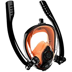 Aven Masque Snorkeling Masque de plongée K2 Nage sur Le Dos en Respiration Libre [Tubes Doubles] Vue panoramique à 180 ° Anti-buée et Souffle Facile avec Support pour caméra