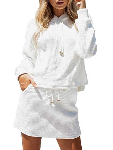 Mslure Damen Herbst Kleid Casual Zweiteiler Lace up Oversize Dress Mit Kapuze Weiß