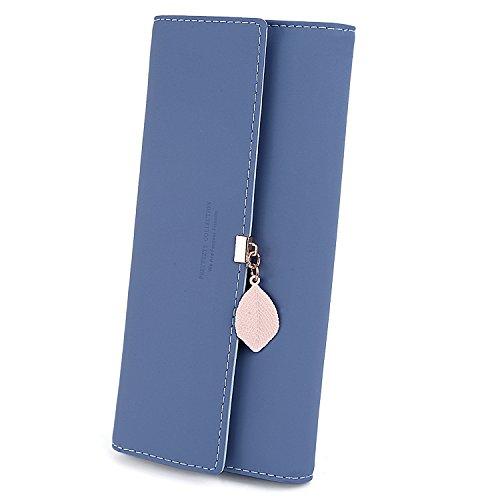 UTO Damen PU Leder Lange Brieftasche mit Blatt Anhänger Kartenhalter Handytasche Mädchen Reißverschluss Geldbörse Marineblau