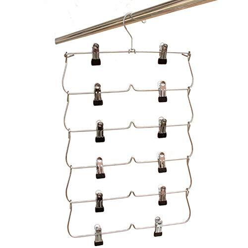 VFHJKHB Platzsparender klappbarer Metallbügel mit Clips für Hosen, Socken (4 Teile/Los)