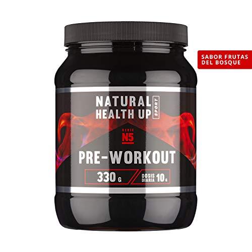 Pre entreno con arginina y creatina para un mejor rendimiento deportivo - Pre-entreno con vitaminas B3 y B6 para el crecimiento muscular - Sabor frutas del bosque - 330 gramos (Frutos del Bosque)