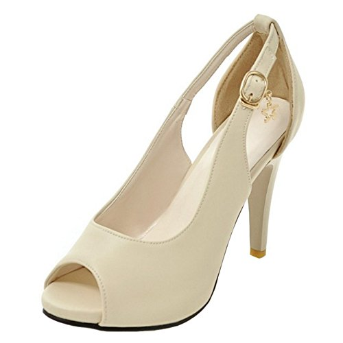 COOLCEPT Damen Mode-Event Peep Toe Pumps Clasp Stiletto Party Shoes Beige