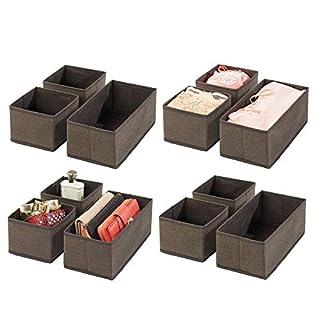 mDesign 12er-Set Aufbewahrungsbox – atmungsaktive Stoffbox für Socken, Unterwäsche, Leggings etc. – vielseitige Schubladen Organizer für Schlaf- und Kinderzimmer – braun