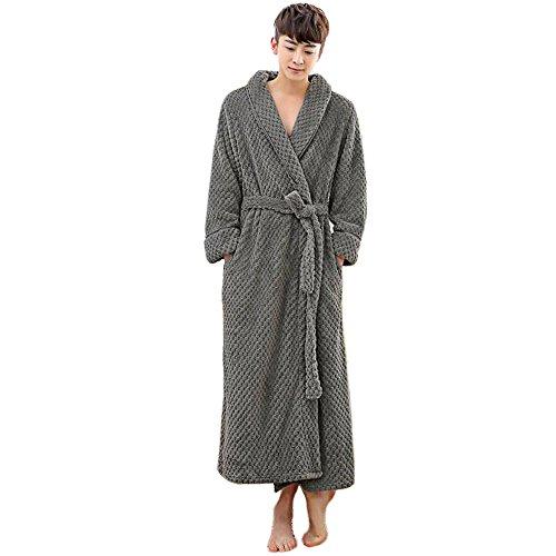 DINGANG® Bademantel für Damen und Herren Grau-Herren