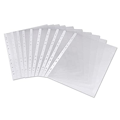 Nice Style 50 Pcs A4 Clear Plastic Punched Punch Pockets 30 Micron for Folders Filing Wallets Sleeves : everything five pounds (or less!)