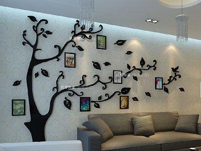 Loterong Picture Tree Kristall Acryl 3D Dreidimensionale Wandaufklebern Wohnzimmer Sofa Tv Hintergrund Wand Dekoration Wohnungseinrichtung, 181 Foto Bäume - Alle Weiß, rechts