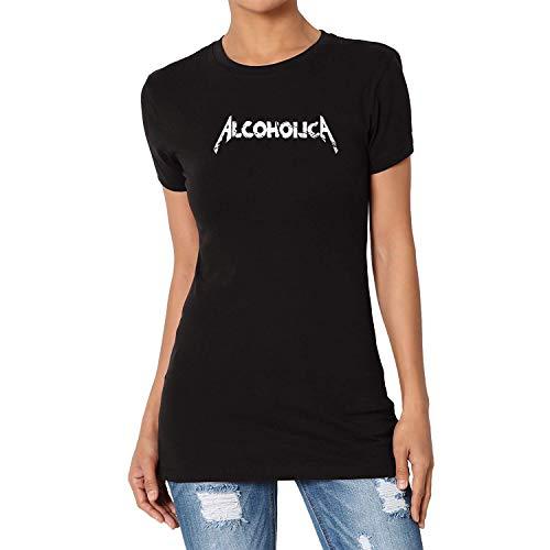 TANGLIII Damen/Women's Vintage Alcoholica Logo Black Short Sleeve T-Shirt Top Tee -