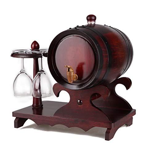 LNNA 3 Liter Eichenweinfass mit 4 Weingläsern zur Aufbewahrung von Whiskey, Bier, Tequila, Bourbon, Scotch, Wein, Weinbrand und vielem mehr! (Farbe : Antique Color) -
