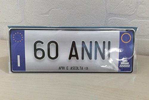 Biglietto Auguri Parlante Targa Compleanno 60 Anni Novita