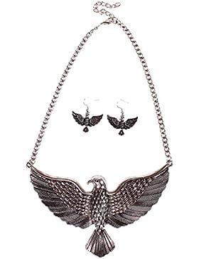QIYUN.Z Hochfliegender Adler Vogel Anhänger Kette Bib Halskette Baumelt Ohrring Set Silber Halskett Halskette