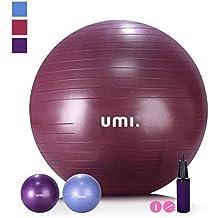 UMI. Essentials Gymnastikball Anti-Burst Sitzball 65cm 75cm Fitnessball mit Ball Pumpe Pezziball für Yoga Pilates, Balance Übung Core-Training Maximalbelastbarkeit bis 500kg