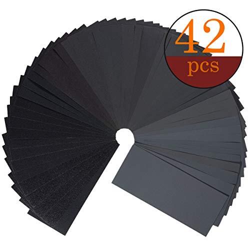 Schleifpapier Set,42 Stück 120 to 3000 Grit Schleifpapier Sortiment Trocken/Nass Für Automobilschleifen Holzbearbeitung und Holzdrehen, 9 x 3,6 Zoll -