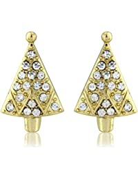 Diamante encrusted christmas tree earrings - Gorgeous womens / girls festive stud earrings - includes beautiful gift bag.