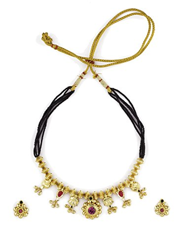 Womens Trendz Saaj Panadi24K Gold Plated Alloy Mangalsutra and Earring Set  available at amazon for Rs.690