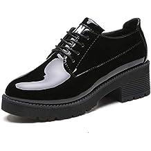 Las Mujeres BritáNicas Oxfords Brogue Zapatos OtoñO Charol Lace Up Plataforma Pisos Pisos Tacones De CuñA