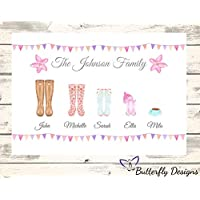 Personalised Watercolour Family Wellington Boots A4 PRINT (NO FRAME) Picture Design 6