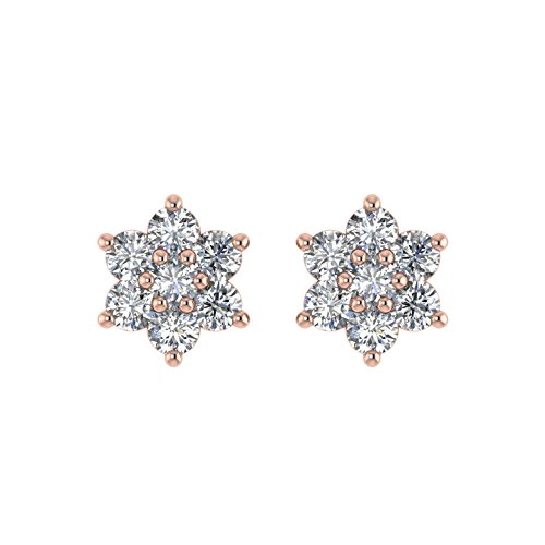 Delight femmes de diamant 14K Boucles d'oreille Clous en forme de fleur (I1-I2, 1/4carat)