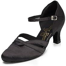 Minitoo - Comode scarpe da donna in raso con tacco basso, modello TH152, ideali per matrimoni, balli latino americani, tango, scarpe da ballo