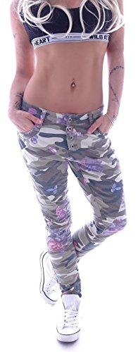 Style-Station Damen Camouflage Army Boyfriend Jeans Hose Baggy Chino XS 34 S 36 M 38 L 40 XL 42 (M 38)