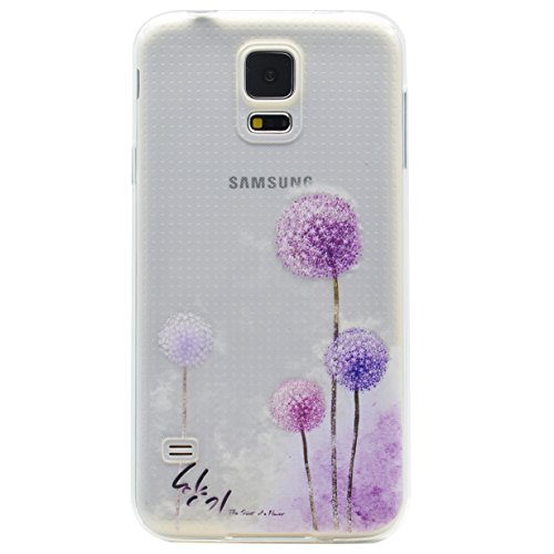 Hülle für Galaxy S5 Mini,RUIST Durchsichtig Soft TPU Stoßfest Frame Schutzhülle Transparent Stil Blume Muster Flexibel Case Cover Anti Kratzer Protective Handy Tasche für Samsung Galaxy S5 Mini