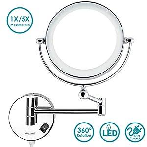 Auxmir Kosmetikspiegel mit LED Beleuchtung und 1-/ 5-facher Vergrößerung aus Edelstahl, Kristallglas und Messing für Badezimmer, Kosmetikstudio, Spa und Hotel