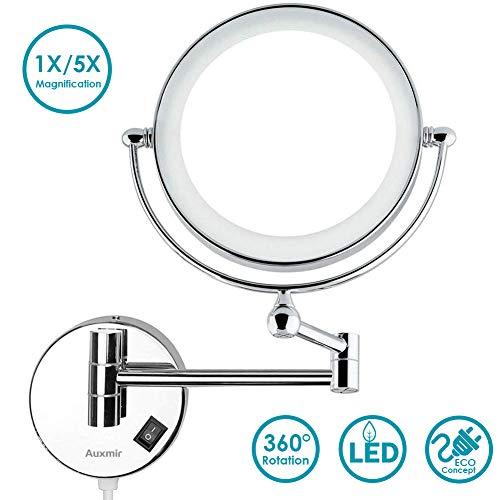 Auxmir Espejo Maquillaje de Baño Pared Iluminado con Luz LED Montaje en Pared 5X de Aumento, Doble...