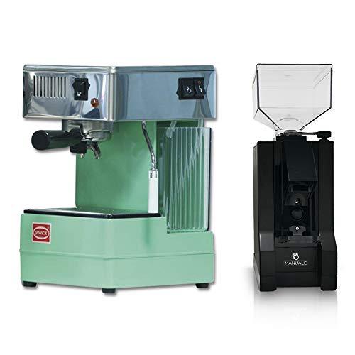 LA GONDOLA Combo Set Espressomaschine Quick Mill 0820 in gruen und Kaffeemühle Eureka Made In Italy