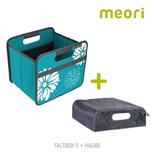 meori Faltbox Classic Small Azur Blau/Blumen + Haube 32x26,5x27,5cm stabil, abwischbar Polyester Staubox Transportkiste Stauraum Aufbewahrungskiste Wäsche Storage