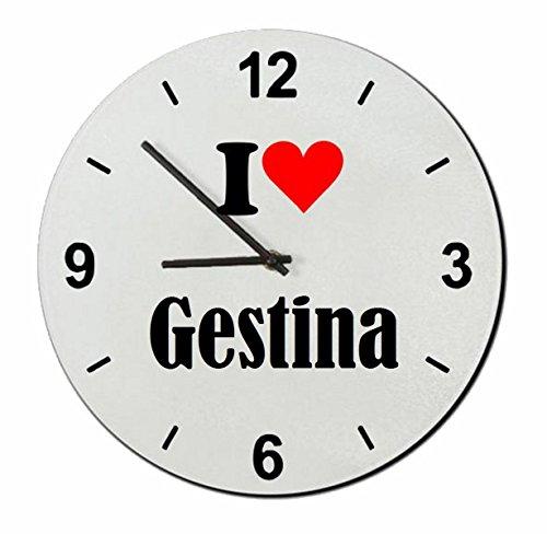 """Preisvergleich Produktbild Exklusive Geschenkidee: Glasuhr """"I Love Gestina"""" eine tolle Geschenkidee die von Herzen kommt- Uhr- Weihnachts Geschenktipp"""