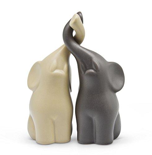 FeinKnick Harmonisch umschlungenes Elefanten-Pärchen aus Keramik in Beige und Grau, modernes Skulpturen-Paar aus zwei einzelnen Elefanten, Deko-Figur 16 cm hoch, Elefant gut als Geschenk geeignet
