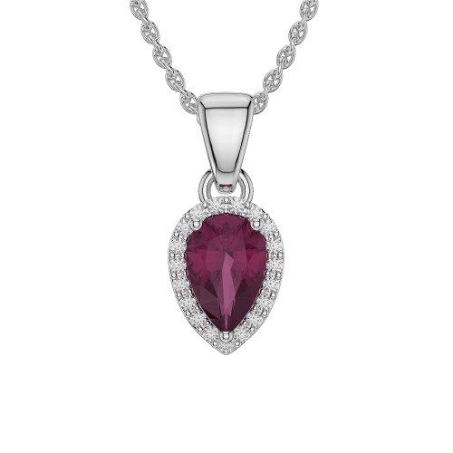 Oro rosa/bianco/oro giallo/platino forma di pera Rubino e Diamante Collana agdnc-1074-vsgh, platino, colore: Oro/rosa/argento, cod.