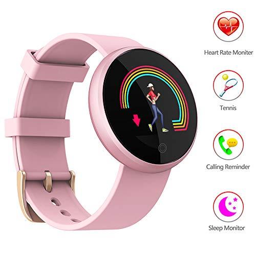 Mengen88 Smart Armband 0,66 Zoll-OLED-Rundsieb Mit Herzfrequenz Erkennung Bewegungsverfolgung Weckerfunktion IP67 wasserdicht Aktivität Tracker,Rosa