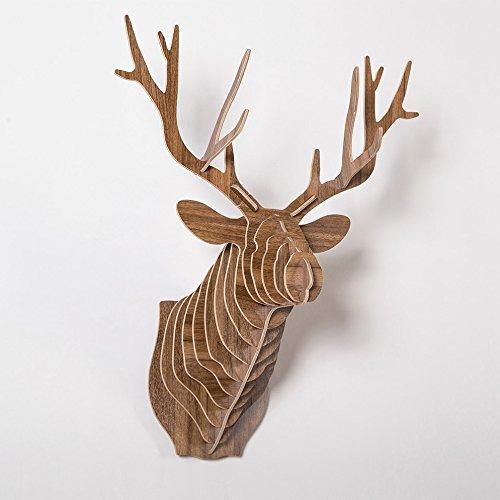 Tête de Cerf Art Mural, HROOME 3D Trophée Tête de Animal en Bois Décoration Sculpture Mur