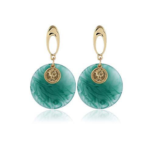 Zwzi Frauen Acryl Ohrringe Geometrische Runde Fett Anhänger Nachahmung Achat Ohrstecker Mode Ohrringe Einfachen Stil Damenmode Artikel,Green