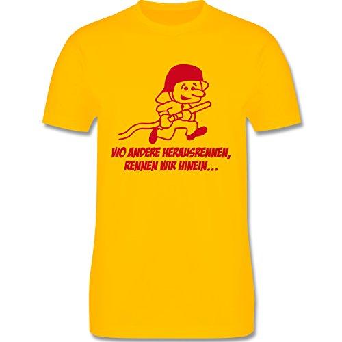 Feuerwehr - Feuerwehr - Wo andere herrausrennen - Herren Premium T-Shirt Gelb