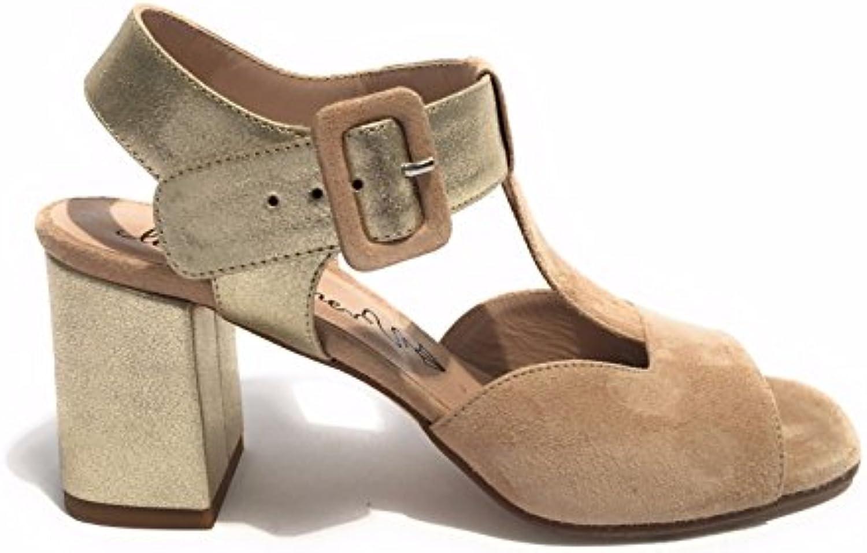 LE TRALLERINE Scarpe Donna Sandalo Artigianale Suede Beige oro TC 60 DS17TR05 | Qualità  | Gentiluomo/Signora Scarpa