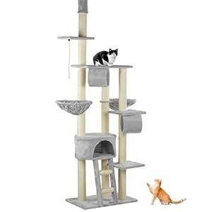 Happypet® CAT005 Kratzbaum Katzenbaum deckenhoch 2,30 bis 2,60 hoch Grau