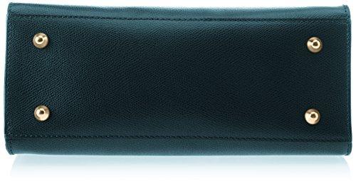Chicca Borse Damen 8844 Schultertasche, 28x22x12 cm Verde (Petrolio)