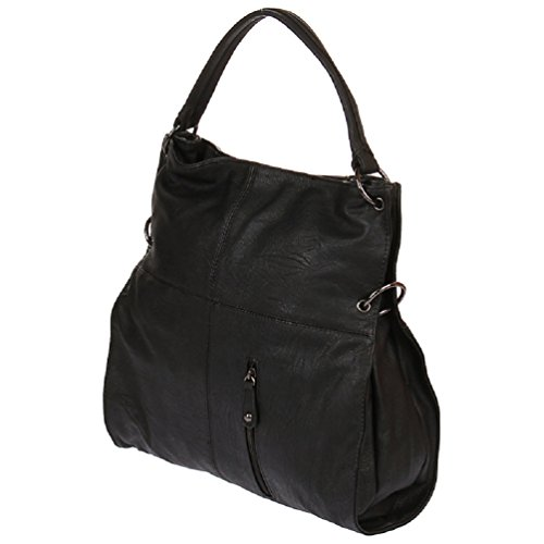 Luxus Shopper Handtasche Schultertasche Umhängetasche Bag Tasche von Enrico Benetti (Schwarz) Schwarz