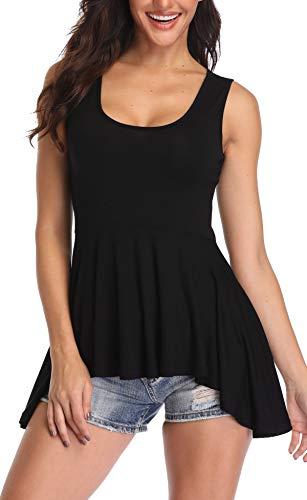 MISS MOLY Blusentops Damen Top U Ausschnitt Sommer Oberteile Asymmetrisch Blusen Ärmellos Shirt Schwarz Medium
