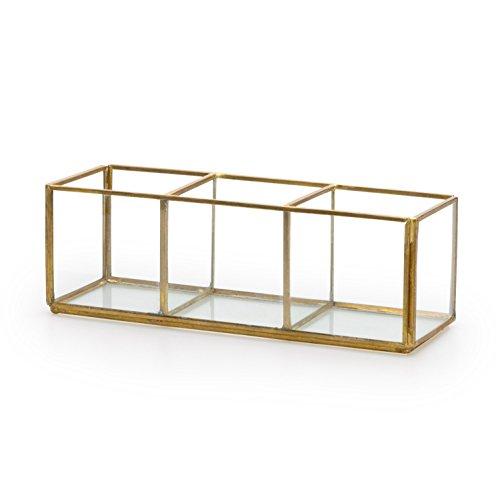 Black Velvet Studio Deko-Box Retro Glas und verchromt, Color transparent und Gold. Box 3 Löcher. Nordic und Retro-Stil. 11x17x14 cm.