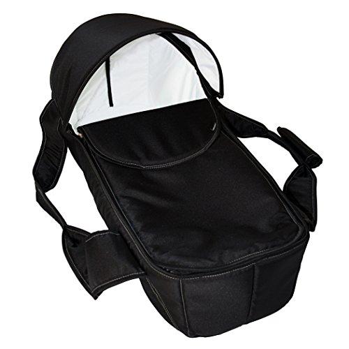 Zekiwa Tragenest für vielfältige Verwendungen, mit Reißverschluß zum Deckel öffnen, Ausstattung mit abnehmbarem Verdeck, für mehrere Kinderwagen nutzbar, Dessin: Schwarz