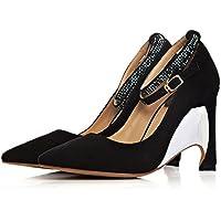 zz&Y Calzature donna wild singola calzatura matte tacchi alti scarpe matrimonio,Nero,36