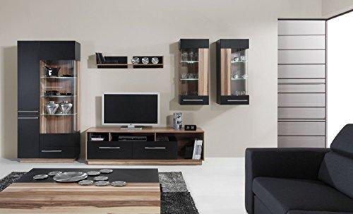 """TV – Unterschrank """"Tinlot"""" 07, Schwarz / Walnuss – Abmessungen: 180 x 53 x 50 cm (B x H x T) - 3"""