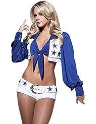 Baymate Debardeur Jupe Pom-Pom Girl 2 Pièces Cheerleading Costume Deguisement