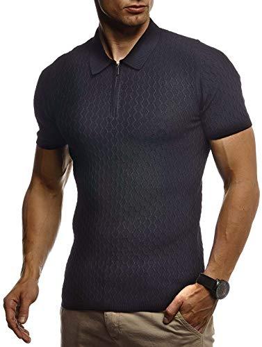 LEIF NELSON Herren Sommer T-Shirt Poloshirt Slim Fit aus Feinstrick | Cooles Basic Männer Polo-Shirt Crew Neck | Jungen Kurzarmshirt Polo Shirt Sweater Kurzarm | LN7315 Schwarz XX-Large -