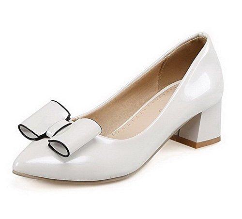 VogueZone009 Damen Ziehen Auf Pu Leder Spitz Zehe Mittler Absatz Rein Pumps Schuhe Weiß