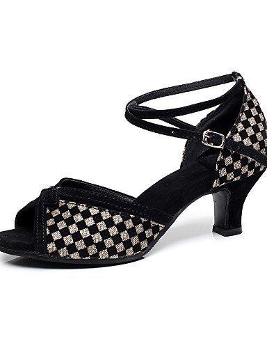ShangYi Chaussures de danse ( Noir / Bleu / Or ) - Non Personnalisables - Talon Cubain - Flocage - Latine / Salsa black and gold